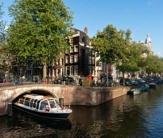 Excursion boat in Amsterdam canal